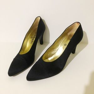 Chanel Heels Black Satin Sz 39.5 Made in Italy